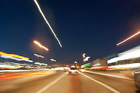 Cars leave light trails on Interstate 35 (I-35 or IH-35) a major north-south Austin highway