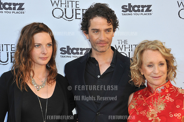 Rebecca Ferguson, James Frain &amp; author Philippa Gregory (right) at launch party in Los Angeles for their TV series &quot;The White Queen&quot; at the British Consul's residence.<br /> July 25, 2013  Los Angeles, CA<br /> Picture: Paul Smith / Featureflash