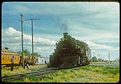 D&amp;RGW #499 switching. A RMRRC excursion train is on a side track, showing &quot;Alamosa&quot; &amp; a car.<br /> D&amp;RGW