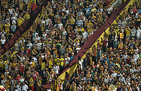 IBAGUÉ -COLOMBIA, 10-12-2015. Hichas del Tolima animan a su equipo durante el partido de ida entre Deportes Tolima y Atlético Junior por la semifinal de la Liga Águila II 2015 jugado en el estadio Manuel Murillo Toro de Ibagué./ Fans of Tolima cheer their team during first leg match between Deportes Tolima and Atletico Junior for the semifinal of the Aguila League II 2015 played at Manuel Murillo Toro stadium in Ibague city. Photo: VizzorImage/ Gabriel Aponte / Staff