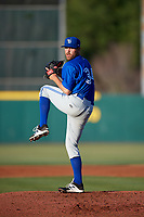 Dunedin Blue Jays starting pitcher Conor Fisk (34) delivers a pitch during a game against the Florida Fire Frogs on April 10, 2017 at Osceola County Stadium in Kissimmee, Florida.  Florida defeated Dunedin 4-0.  (Mike Janes/Four Seam Images)