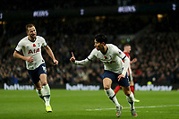 9th November 2019; Tottenham Hotspur Stadium, London, England; English Premier League Football, Tottenham Hotspur versus Sheffield United; Son Heung-Min of Tottenham Hotspur celebrates as he scores for 1-0 in the 58th minute -  Strictly Editorial Use Only. No use with unauthorized audio, video, data, fixture lists, club/league logos or 'live' services. Online in-match use limited to 120 images, no video emulation. No use in betting, games or single club/league/player publications