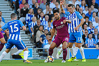 Sergio Aguero of Manchester City (10)  during the EPL - Premier League match between Brighton and Hove Albion and Manchester City at the American Express Community Stadium, Brighton and Hove, England on 12 August 2017. Photo by Edward Thomas / PRiME Media Images.