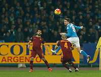 Napoli's Jorginho  during the  italian serie a soccer match,between SSC Napoli and AS Roma       at  the San  Paolo   stadium in Naples  Italy ,December 13, 2015