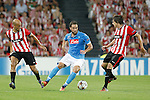 Athletic de Bilbao's Mikel Rico (l) and Ander Iturraspe (r) and SSC Napoli's Gonzalo Higuain during Champions League 2014/2015 Play-off 2nd leg match.August 27,2014. (ALTERPHOTOS/Acero)