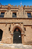 Entrance to the French speaking lodge of Knights, today the French consulate, Rhodes, Greece, UNESCO World Heritage Site