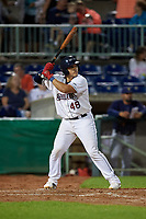 Mahoning Valley Scrappers Yainer Diaz (48) at bat during a NY-Penn League game against the State College Spikes on August 29, 2019 at Eastwood Field in Niles, Ohio.  State College defeated Mahoning Valley 8-1.  (Mike Janes/Four Seam Images)