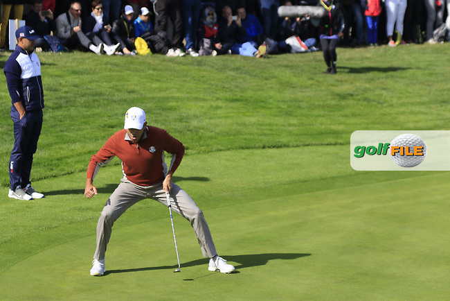 Sergio Garcia (Team Europe) sinks his birdie putt to win the match on the 17th green during Saturday's Fourball Matches at the 2018 Ryder Cup 2018, Le Golf National, Ile-de-France, France. 29/09/2018.<br /> Picture Eoin Clarke / Golffile.ie<br /> <br /> All photo usage must carry mandatory copyright credit (© Golffile   Eoin Clarke)