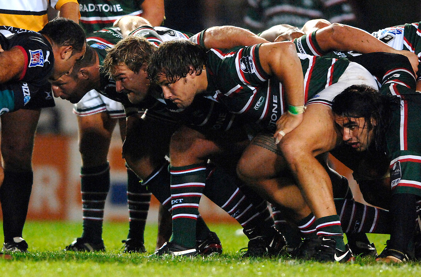 Photo: Richard Lane..Leicester Tigers v Toulon. Pre Season Friendly. 18/08/2006. .Tigers' front row (lt to rt), Julian White, James Buckland and Martin Castrogiovanni.