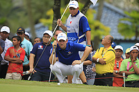 Bernd Wiesberger (Europe) on the 16th green during the Singles Matches of the Eurasia Cup at Glenmarie Golf and Country Club on the Sunday 14th January 2018.<br /> Picture:  Thos Caffrey / www.golffile.ie
