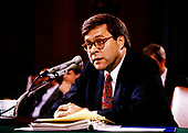 William P. Barr, who was was appointed by United States President George H.W. Bush to be the 77th US Attorney General, testifies before the US Senate Committee on the Judiciary on Capitol Hill in Washington, DC on November 12, 1991.<br /> Credit: Ron Sachs / CNP