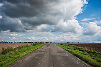 Rural road in poor condition, Smicz, Opole, Southern Poland