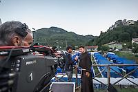 Field tents of Arquata del Tronto (AP) in Borgo Fraction during the earthquake on August 26, 2016, in Marche, Italy. Photo by Adam Di Loreto -- [ITA] Campo Base di Arquata del Tronto (AP) Frazione di Borgo durante il  Terremoto on August 26, 2016, in Marche, Italy. Photo by Adamo Di Loreto