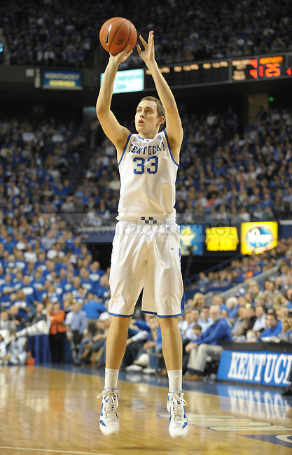 Kentucky's Kyle Wiltjer (33) shoots a three pointer during the first half of the University of Kentucky Mens Basketball game against South Carolina at Rupp Arena in Lexington, Ky., on 1/7/12. UK led the game at half 34-18. Photo by Mike Weaver | Staff
