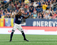 FOXBOROUGH, MA - SEPTEMBER 21: Luis Caicedo #27 of New England Revolution heads the ball during a game between Real Salt Lake and New England Revolution at Gillette Stadium on September 21, 2019 in Foxborough, Massachusetts.