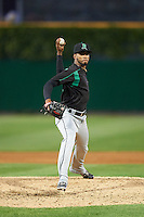 Dayton Dragons relief pitcher Juan Martinez (18) delivers a pitch during a game against the Peoria Chiefs on May 6, 2016 at Dozer Park in Peoria, Illinois.  Peoria defeated Dayton 5-0.  (Mike Janes/Four Seam Images)