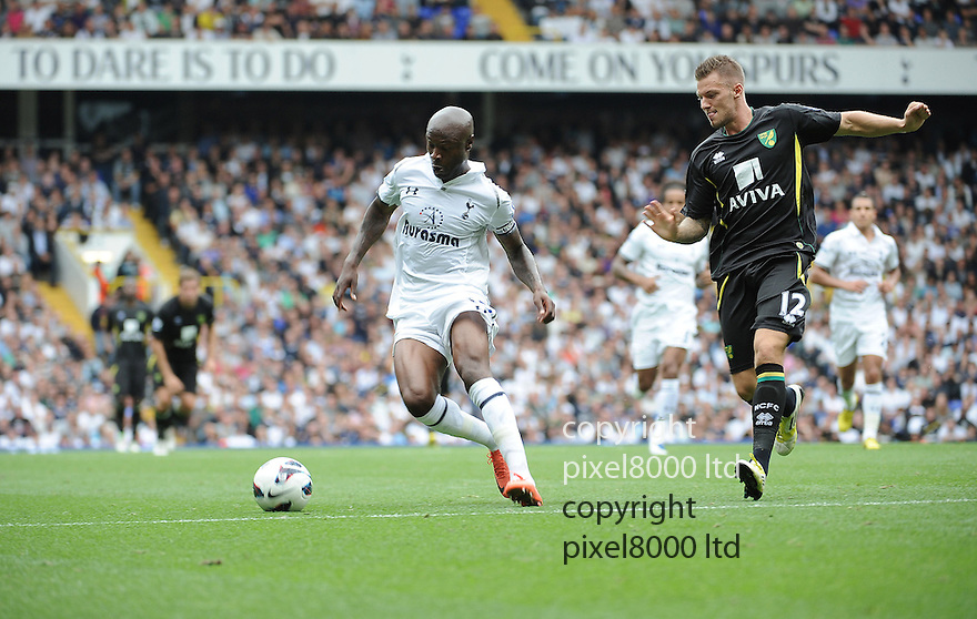 William Galls of Tottenham Hotspur protects the ball during Barclays Premier League match between Tottenham Hotspur and Norwich City at White Hart Lane on September 1, 2012 in London, England. Picture Zed Jameson/pixel 8000 ltd.