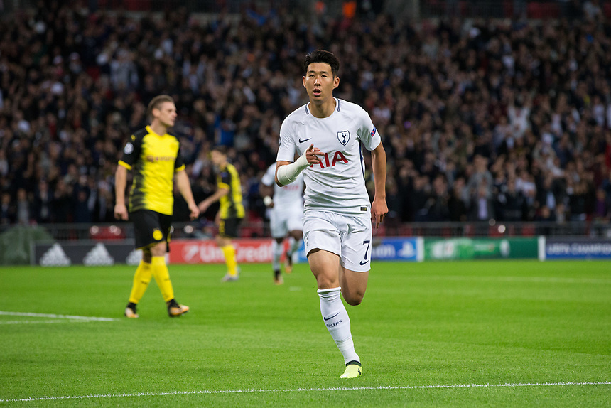 Tottenham Hotspur's Son Heung-Min celebrates scoring the opening goal     <br /> <br /> <br /> Photographer Craig Mercer/CameraSport<br /> <br /> UEFA Champions League Group H - Tottenham Hotspur v Borussia Dortmund - Wednesday 13th September 2017 - Wembley Stadium - London<br />  <br /> World Copyright &copy; 2017 CameraSport. All rights reserved. 43 Linden Ave. Countesthorpe. Leicester. England. LE8 5PG - Tel: +44 (0) 116 277 4147 - admin@camerasport.com - www.camerasport.com