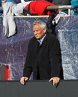 FC Dallas head coach Schellas Hyndman..  In a Major League Soccer (MLS) match, FC Dallas (red) defeated the New England Revolution (blue), 1-0, at Gillette Stadium on March 30, 2013.