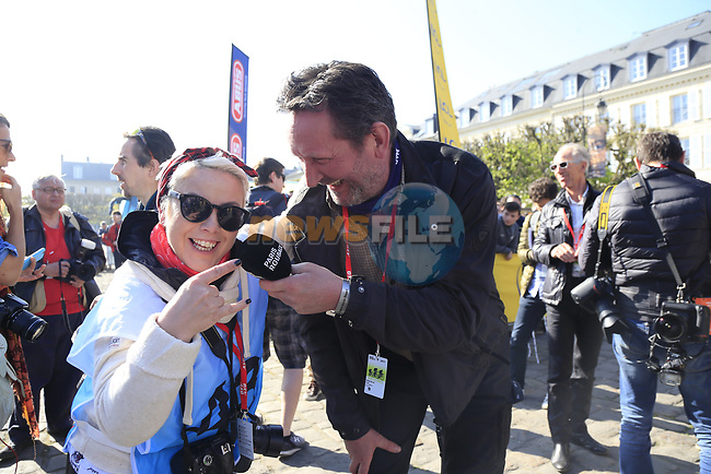 Irish photographer Karen Edwards at sign on for the 115th edition of the Paris-Roubaix 2017 race running 257km Compiegne to Roubaix, France. 9th April 2017.<br /> Picture: Eoin Clarke | Cyclefile<br /> <br /> <br /> All photos usage must carry mandatory copyright credit (&copy; Cyclefile | Eoin Clarke)