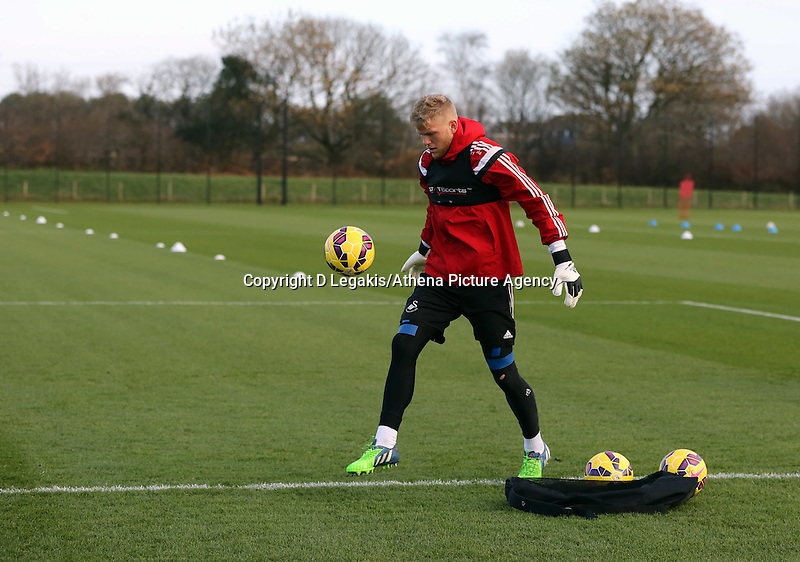 Pictured: Goalkeeper David Cornell Wednesday 10 December 2014<br /> Re: Swansea City FC training at Fairwood Training Ground, south Wales, UK