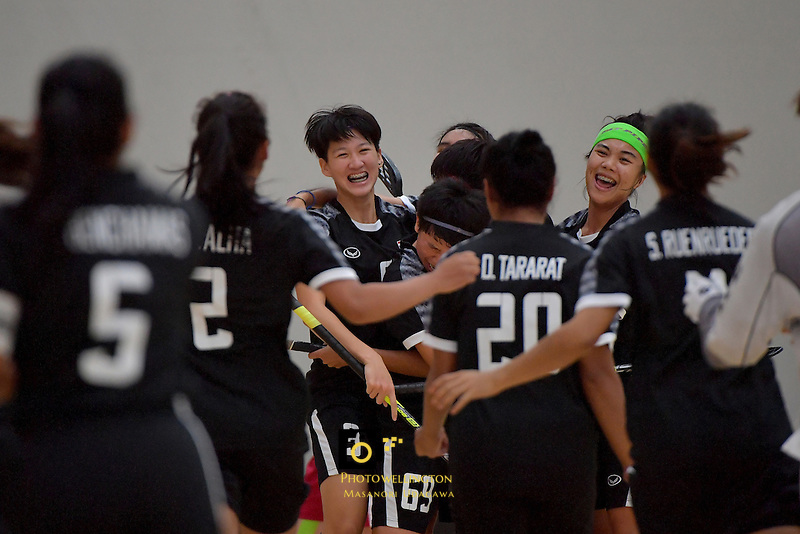 Thailand's Khwanchanok Suksin in action during the World Floorball Championships 2017 Qualification for Asia Oceania Region - Japan v Thailand at ASB Sports Centre , Wellington, New Zealand on Saturday 4 February 2017.<br /> Photo by Masanori Udagawa<br /> www.photowellington.photoshelter.com.