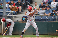 Darius Day (1) of the Spokane Indians at bat during a game against the Everett Aquasox at Everett Memorial Stadium in Everett, Washington on July 24, 2015.  Everett defeated Spokane 8-6. (Ronnie Allen/Four Seam Images)