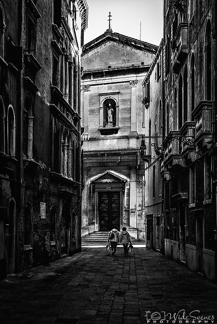A lonely alleyway in the sestiere of San Marco in Venice Italy.