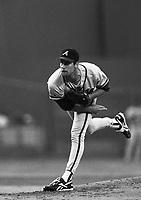 John Smoltz of the Atlanta Braves at Dodger Stadium in Los Angeles,California during the 1996 season. (Larry Goren/Four Seam Images)