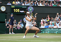 Johanna Konta (GBR) during her match against Petra Kvitova (CZE) in their Ladies' Singles Fourth Round match<br /> <br /> Photographer Rob Newell/CameraSport<br /> <br /> Wimbledon Lawn Tennis Championships - Day 7 - Monday 8th July 2019 -  All England Lawn Tennis and Croquet Club - Wimbledon - London - England<br /> <br /> World Copyright © 2019 CameraSport. All rights reserved. 43 Linden Ave. Countesthorpe. Leicester. England. LE8 5PG - Tel: +44 (0) 116 277 4147 - admin@camerasport.com - www.camerasport.com