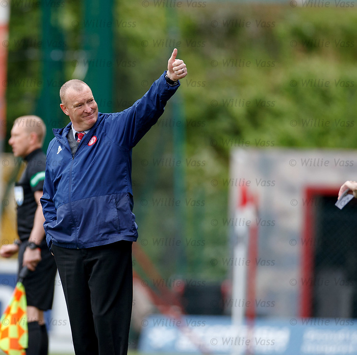 18.05.2019 Hamilton v St Johnstone: Thumbs up from Brian Rice to the Accies directors box