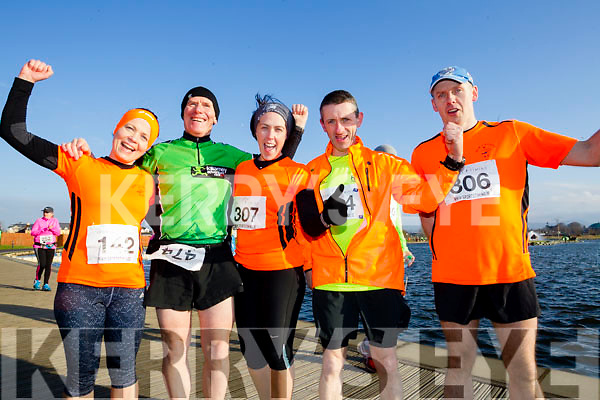 Susanne Foley James Tobin, Tracy Murphy, Noel Lawlor and Sean Murphy, participants who took part in the Kerry's Eye Valentines Weekend 10 mile road race on Sunday.