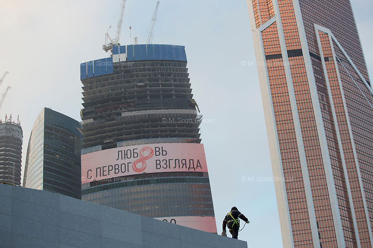 Skyscrapers under construction stand in the Moscow City business district in Moscow, Russia.