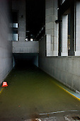 New York, New York.October 30, 2012..A flooded garage in lower Manhattan after Hurricane Sandy.