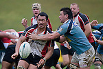 Taiasina Tuifua gets his pass away as he is hit by Jake Paringatai. Air New Zealand Cup pre-season rugby game between the Counties Manukau Steelers & Northland, played at Growers Stadium on July 21st, 2007. Counties Manukau won 28 - 17.