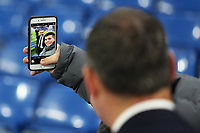 Swansea City manager Paul Clement takes a selfie with a fan prior to kick off of the Premier League match between Chelsea and Swansea City at Stamford Bridge, London, England, UK. Wednesday 29 November 2017