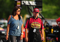 Jun. 19, 2011; Bristol, TN, USA: NHRA top fuel dragster driver Del Worsham (right) with wife Connie Worsham during eliminations at the Thunder Valley Nationals at Bristol Dragway. Mandatory Credit: Mark J. Rebilas-