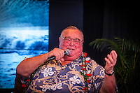"HONOLULU, Turtle Bay Resort, North Shore, Oahu. - (Thursday, January 3, 2013) Greg Noll (USA) was the guest  speaker of Talk Story at Surfer The Bar tonight, Noll, nicknamed ""Da Bull"" by Phil Edwards in reference to his physique and way of ""charging"" down the face of a wave is an American pioneer of big wave surfing and is also acknowledged as a prominent longboard shaper. Noll was a member of a US lifeguard team that introduced Malibu boards to Australia around the time of the Melbourne Olympic Games. Noll became known for his exploits in large Hawaiian surf on the North Shore of Oahu. He first gained a reputation in November 1957 after surfing Waimea Bay in 25-30 ft surf when it had previously been thought impossible even to the local Hawaiians. He is perhaps best known for being the first surfer to ride a wave breaking on the outside reef at the so-called Banzai Pipeline in November 1964...It was later at Makaha, in December 1969, that he rode what many at the time believed to be the largest wave ever surfed. After that wave and the ensuing wipeout during the course of that spectacular ride down the face of a massive dark wall of water, his surfing tapered off and he closed his Hermosa Beach shop in the early 1970s. He and other surfers such as Pat Curren, Mike Stang, Buzzy Trent, George Downing, Mickey Munoz, Wally Froyseth, Fred Van Dyke and Peter Cole are viewed as the most daring surfers of their generation...Noll is readily identified in film footage while surfing by his now iconic black and white horizontally striped ""jailhouse"" boardshorts and was interviewed by host Jodi Wilmott (AUS). . Photo: joliphotos.com"