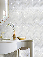 Magdalena, shown in polished Paperwhite, polished Thassos, and Shell is part of New Ravenna's Studio Line. All mosaics in this collection are ready to ship within 48 hours.