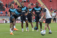 Jason Banton of Wycombe Wanderers hits a shot during warm ups during the Sky Bet League 2 match between Leyton Orient and Wycombe Wanderers at the Matchroom Stadium, London, England on 19 September 2015. Photo by Andy Rowland.