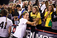 Penn's Emily Carter (22) celebrates with fans in the crowd after a 2-0 win against Brebeuf Jesuit in the IHSAA Class 2A Girls Soccer State Championship Game on Saturday, Oct. 29, 2016, at Carroll Stadium in Indianapolis. Special to the Tribune/JAMES BROSHER