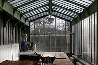 Desert and Arid Lands Glasshouse, 1930s, Jardin des Plantes, Museum National d'Histoire Naturelle, Paris, France. Low angle view of a builder working in the glass and metal structure.