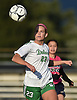 Allison Kiernan #23 of Farmingdale chases down a loose ball during a Nassau County Conference AA-1 varsity girls soccer game against host Baldwin High School on Wednesday, Oct. 17, 2018. She scored a goal to break a 1-1 late in the first half. Farmingdale went on to win by a score of 3-1.