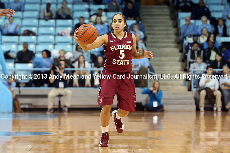 31 January 2013: Florida State's Yashira Delgado. The University of North Carolina Tar Heels played the Florida State University Seminoles at Carmichael Arena in Chapel Hill, North Carolina in an NCAA Division I Women's Basketball game. UNC won the game 72-62.