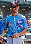 23 June 2019: New Hampshire Fisher Cats infielder Kevin Smith walks the dugout prior to a game against the Trenton Thunder at Northeast Delta Dental Stadium in Manchester, NH. The Thunder defeated the Fisher Cats 5-2 in Eastern League play. Mandatory Credit: Ed Wolfstein Photo *** RAW (NEF) Image File Available ***