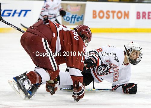 Michael Del Mauro (Harvard - 13), Drew Ellement (NU - 2) - The Northeastern University Huskies defeated the Harvard University Crimson 4-1 (EN) on Monday, February 8, 2010, at the TD Garden in Boston, Massachusetts, in the 2010 Beanpot consolation game.