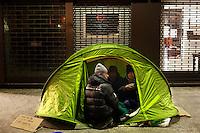 Milano: clochard nel centro di Milano durante i giorni di grande freddo.