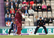 29th September 2017, Ageas Bowl, Southampton, England; One Day International Series, England versus West Indies; West Indies Chris Gayle hits a six off England's Jake Ball