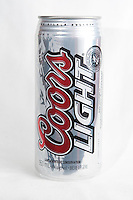 A Coors Light beer can over a white background