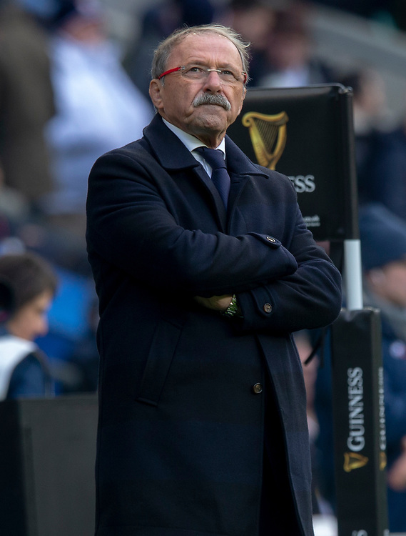 France's Head Coach Jacques Brunel<br /> <br /> Photographer Bob Bradford/CameraSport<br /> <br /> Guinness Six Nations Championship - England v France - Sunday 10th February 2019 - Twickenham Stadium - London<br /> <br /> World Copyright &copy; 2019 CameraSport. All rights reserved. 43 Linden Ave. Countesthorpe. Leicester. England. LE8 5PG - Tel: +44 (0) 116 277 4147 - admin@camerasport.com - www.camerasport.com